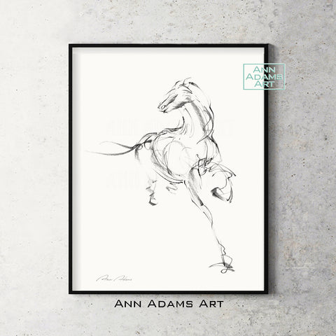 H03 quick head horse Sketch Charcoal Minimalist Fine Art Drawing black and white abstract tutorial Ann Adams Etsy 5x7 8x10 11x14 16x20 A2 size annadamsart Simple line