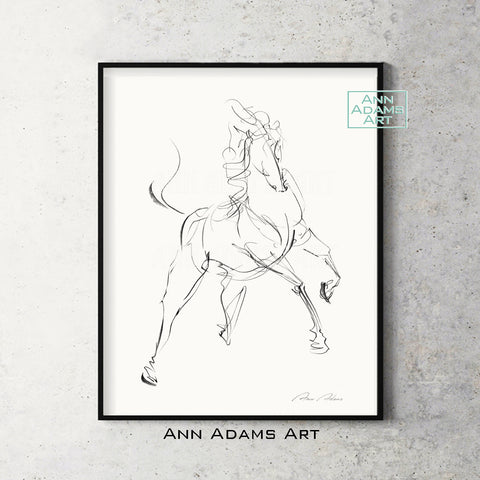 H04 quick head horse Sketch Charcoal Minimalist Fine Art Drawing black and white abstract tutorial Ann Adams Etsy 5x7 8x10 11x14 16x20 A2 size annadamsart Simple line