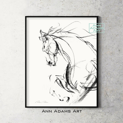 H07L quick head horse Sketch Charcoal Minimalist Fine Art Drawing black and white abstract tutorial Ann Adams Etsy 5x7 8x10 11x14 16x20 A2 size annadamsart Simple line