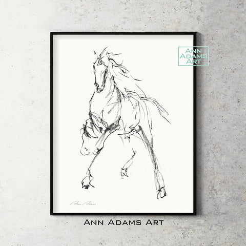 H08 quick head horse Sketch Charcoal Minimalist Fine Art Drawing black and white abstract tutorial Ann Adams Etsy 5x7 8x10 11x14 16x20 A2 size annadamsart Simple line