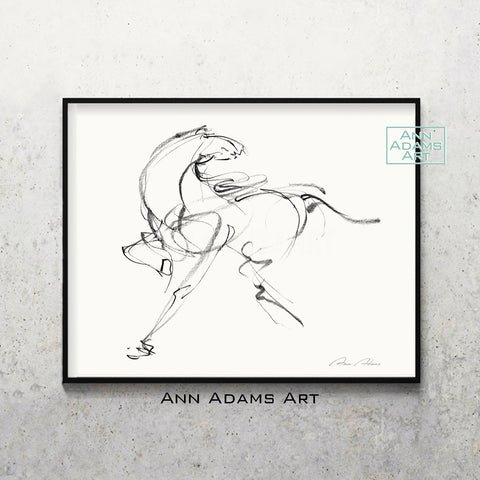 H05 quick horse Sketch Charcoal Minimalist Fine Art Drawing black and white abstract tutorial Ann Adams Etsy horizontal 5x7 8x10 11x14 16x20 A2 size annadamsart Simple line