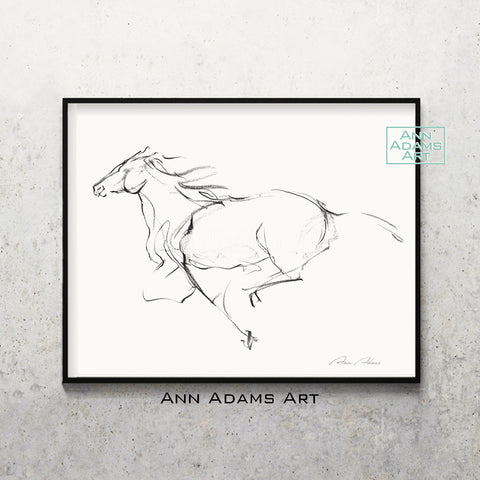 H06 quick horse Sketch Charcoal Minimalist Fine Art Drawing black and white abstract tutorial Ann Adams Etsy horizontal 5x7 8x10 11x14 16x20 A2 size annadamsart Simple line
