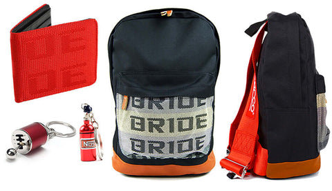 sp bundle red including backpack, wallet and two keychains