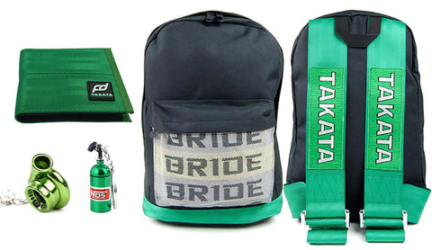 jdm bundle fully green including backpack, wallet and keychains