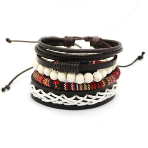 """Fujiwhara Effect"" Multi-Layer Leather Bracelet Set"