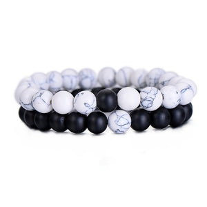 """Frost Point"" Natural Marble Stone Black and White Yin Yang Beaded Bracelet Set"