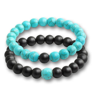 """Black Ice"" Blue and Black Stone Bracelet Set"
