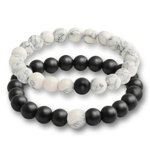 """Snow Storm"" Marble White and Black Stone Bracelet Set"