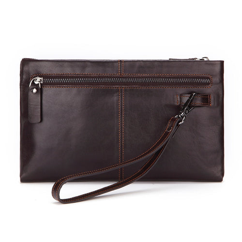 Genodern Luxury Leather Clutch Bag in Coffee