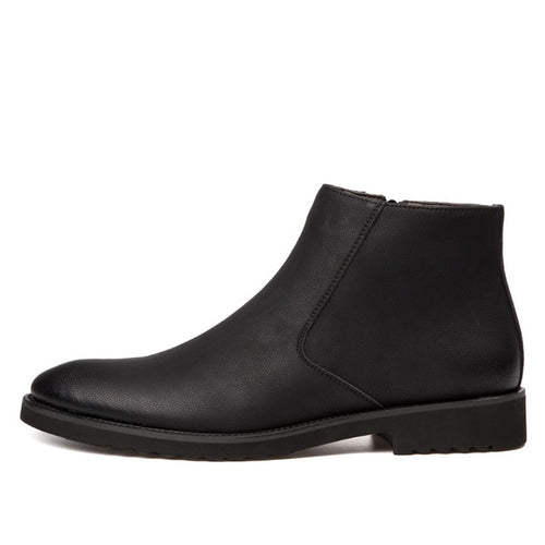 Zip Leather Chelsea Boots in Black