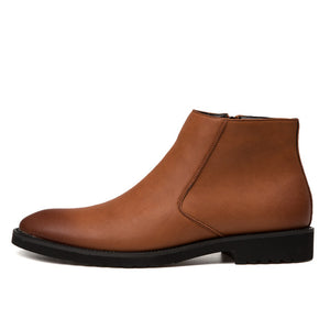 Zip Leather Chelsea Boots in Brown