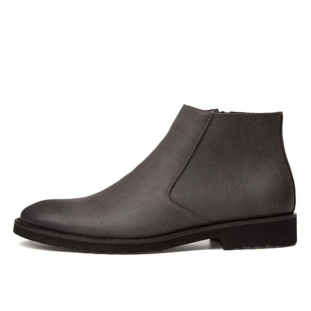 Zip Leather Chelsea Boots in Gray