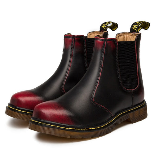 Doc Martins Inspired Chelsea Boots in Black and Red