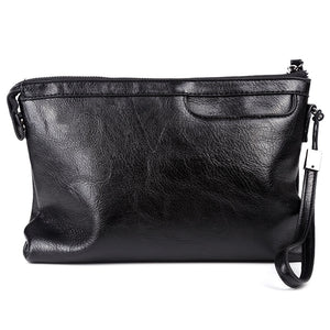 Luxury Leather Business Clutch Bag in Black
