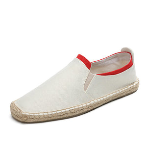 TFM Design Espadrilles in White w/ Red Trim
