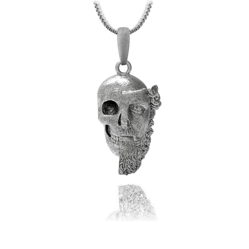 Bearded skull pendant - Sterling silver