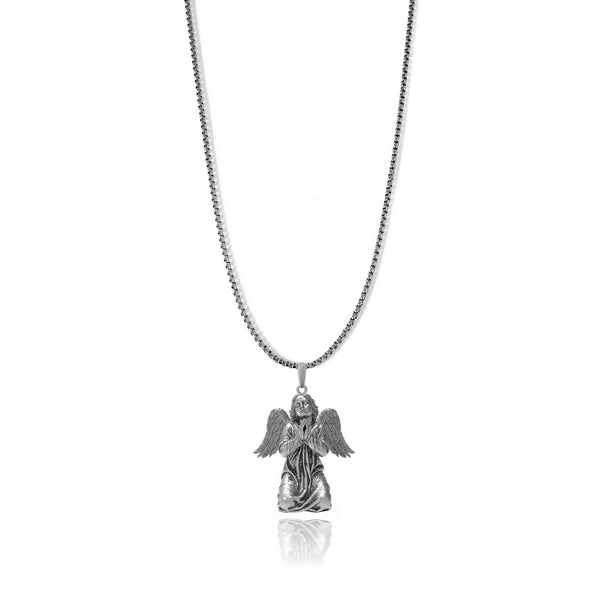 Praying cherub pendant - Sterling silver