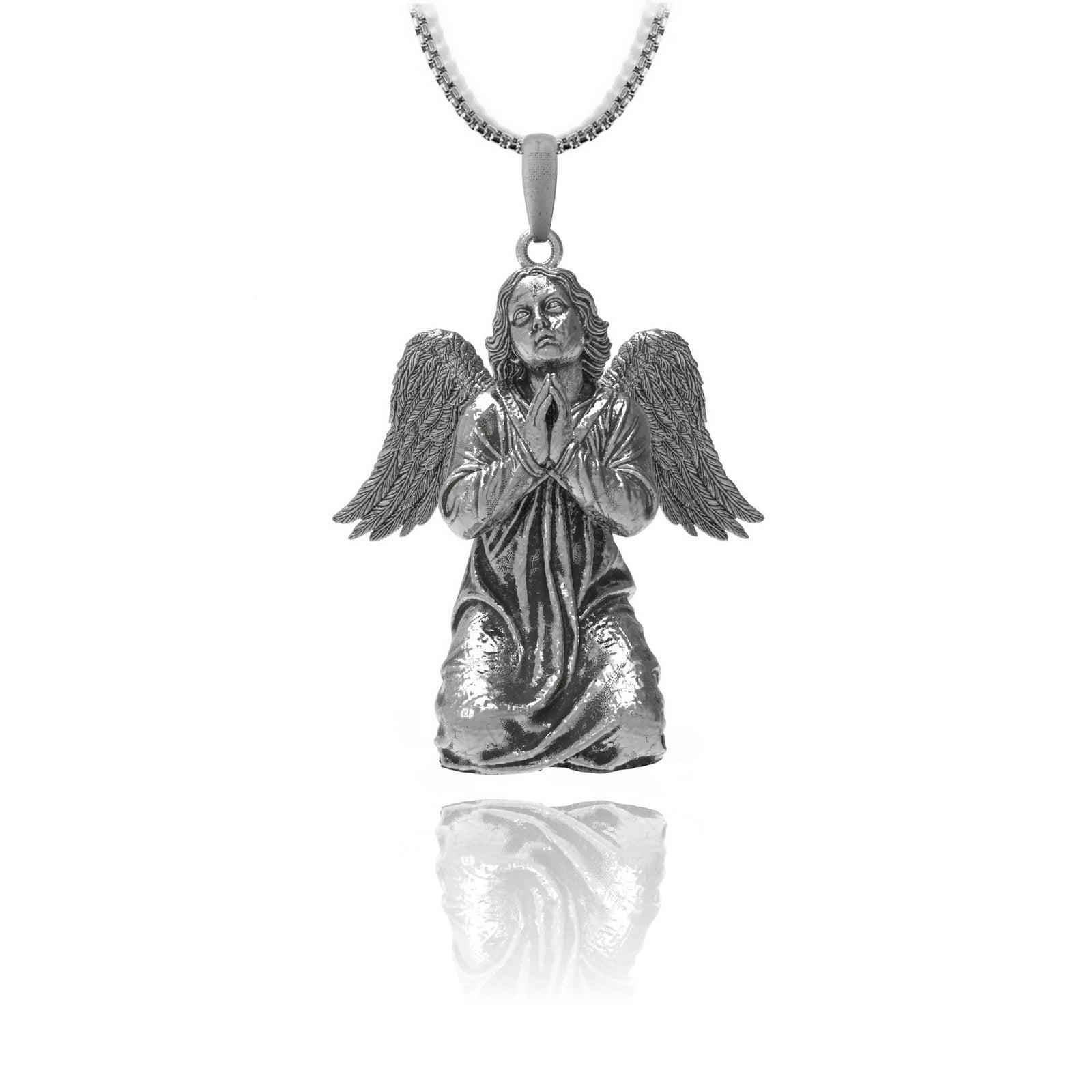 Praying cherub - Sterling silver