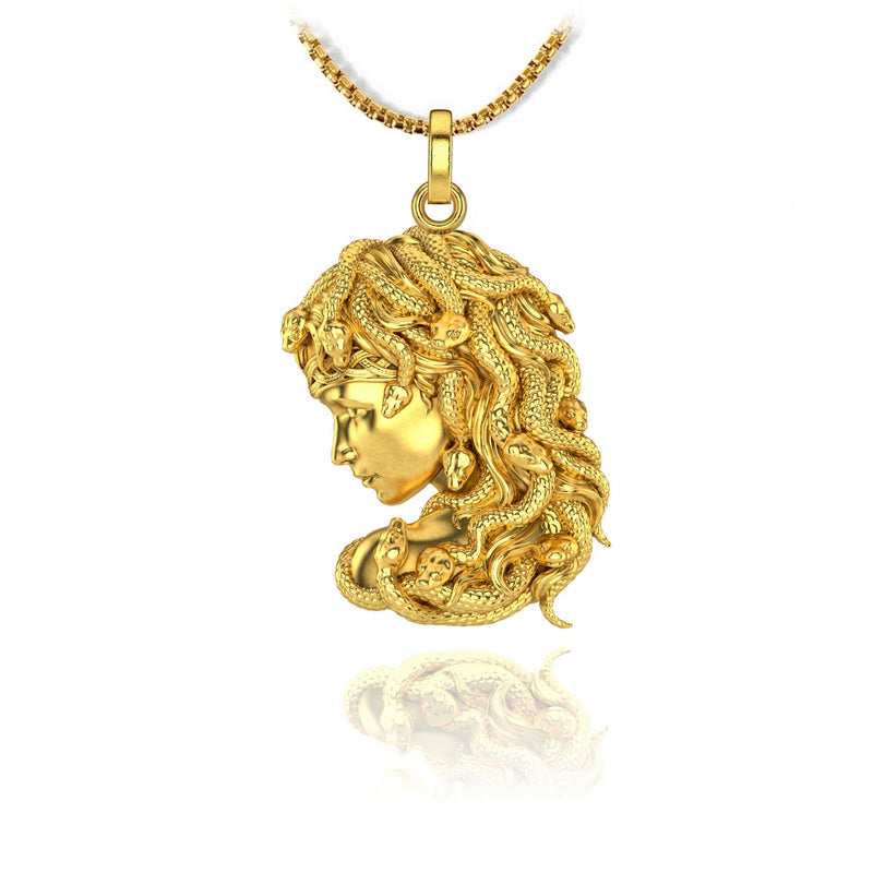 Gorgon Pendant, 18kt Gold Plated - ndm-jewelry