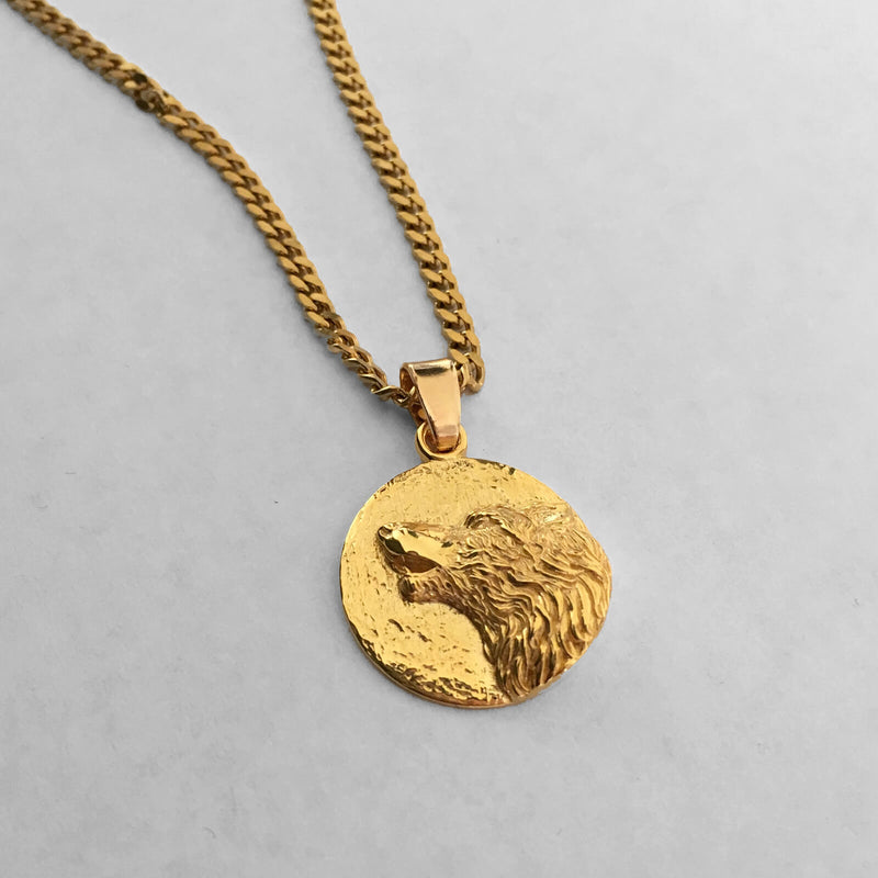 Wolf Medallion Pendant, 18kt Gold Plated - ndm-jewelry