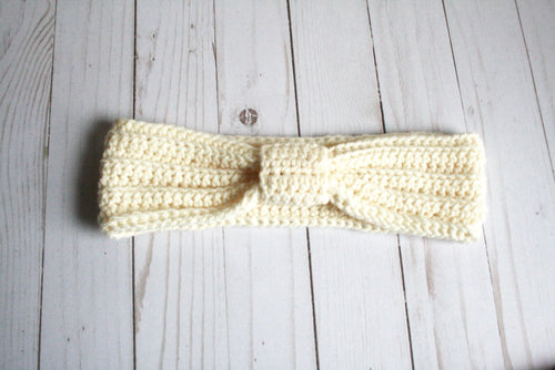 White knotted ear warmer | Halloween gift | turban headband | crochet ear warmer | gift for runner | ready to ship | gift for her