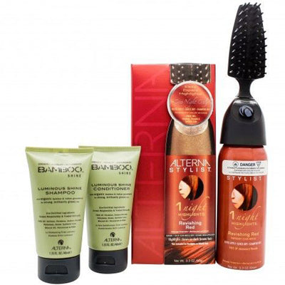 Alterna Stylist Gavesæt 90ml 1 Night Highlights in Ravish Red + 40ml Bamboo Shine Balsam + 40ml Bamboo Shine Shampoo