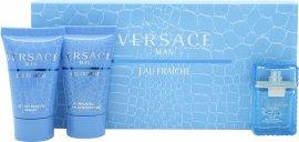 Versace Man Eau Fraiche Gavesæt 5ml EDT + 25ml Shower Gel + 25ml Aftershave Balm Rejsestørrelse Versace