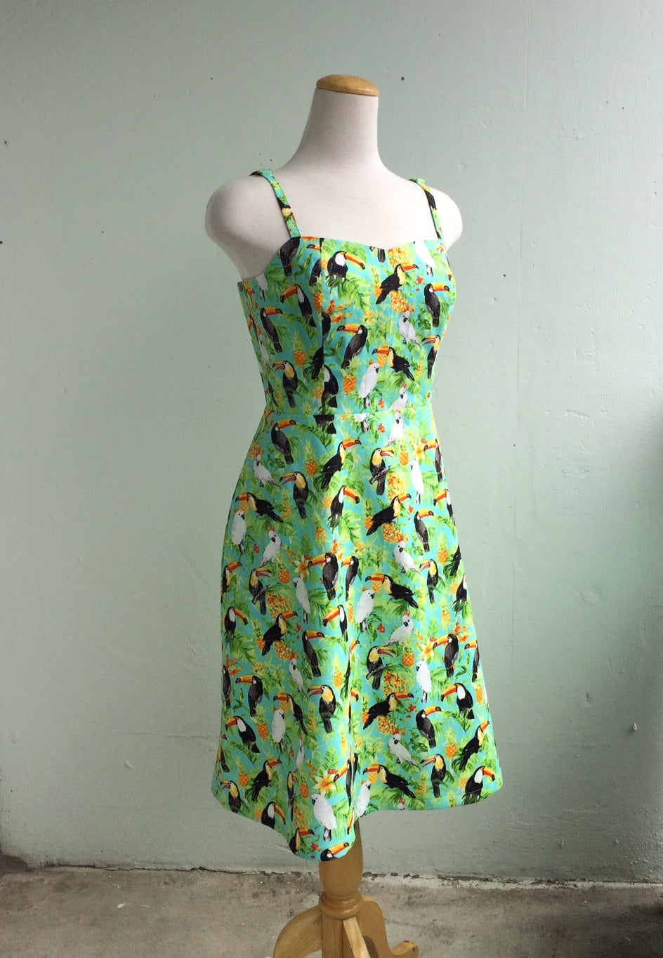 Summer Picnic Fit and Flare Sundress with Adjustable Straps in Green and Toucan Print