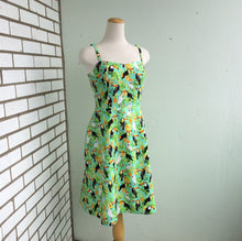 Load image into Gallery viewer, Summer Picnic Fit and Flare Sundress with Adjustable Straps in Green and Toucan Print