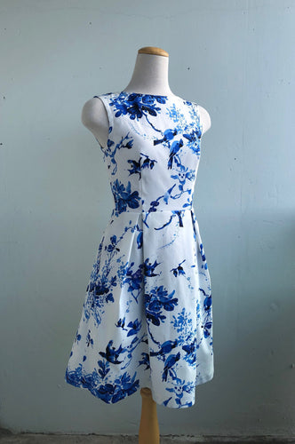 Billie Dress Bird Print Cotton Sateen