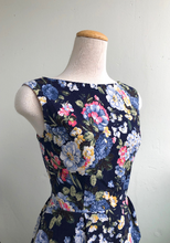 Load image into Gallery viewer, Billie Dress Navy Floral Print Cotton Linen Blend