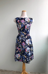 Billie Dress Navy Floral Print Cotton Linen Blend