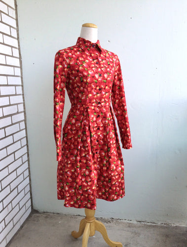 First Date Long Sleeve Shirt Dress in Red Apple Print Cotton