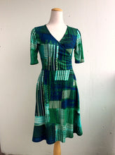 Load image into Gallery viewer, Office PJs Half Wrap Knit Dress in Blue and Green Patchwork Print Rayon Blend