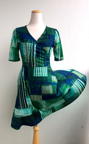 Office PJs Half Wrap Knit Dress in Blue and Green Patchwork Print Rayon Blend