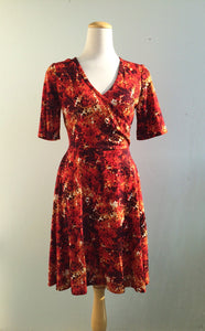 Office PJs Half Wrap Knit Dress With Half sleeves in Red Abstract Print Knit Fabric