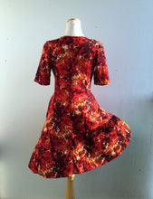 Load image into Gallery viewer, Office PJs Half Wrap Knit Dress With Half sleeves in Red Abstract Print Knit Fabric