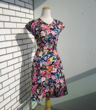 Load image into Gallery viewer, PTA Provocateur Short Sleeve Fit and Flare Dress in Black and Multi Floral Cotton Sateen