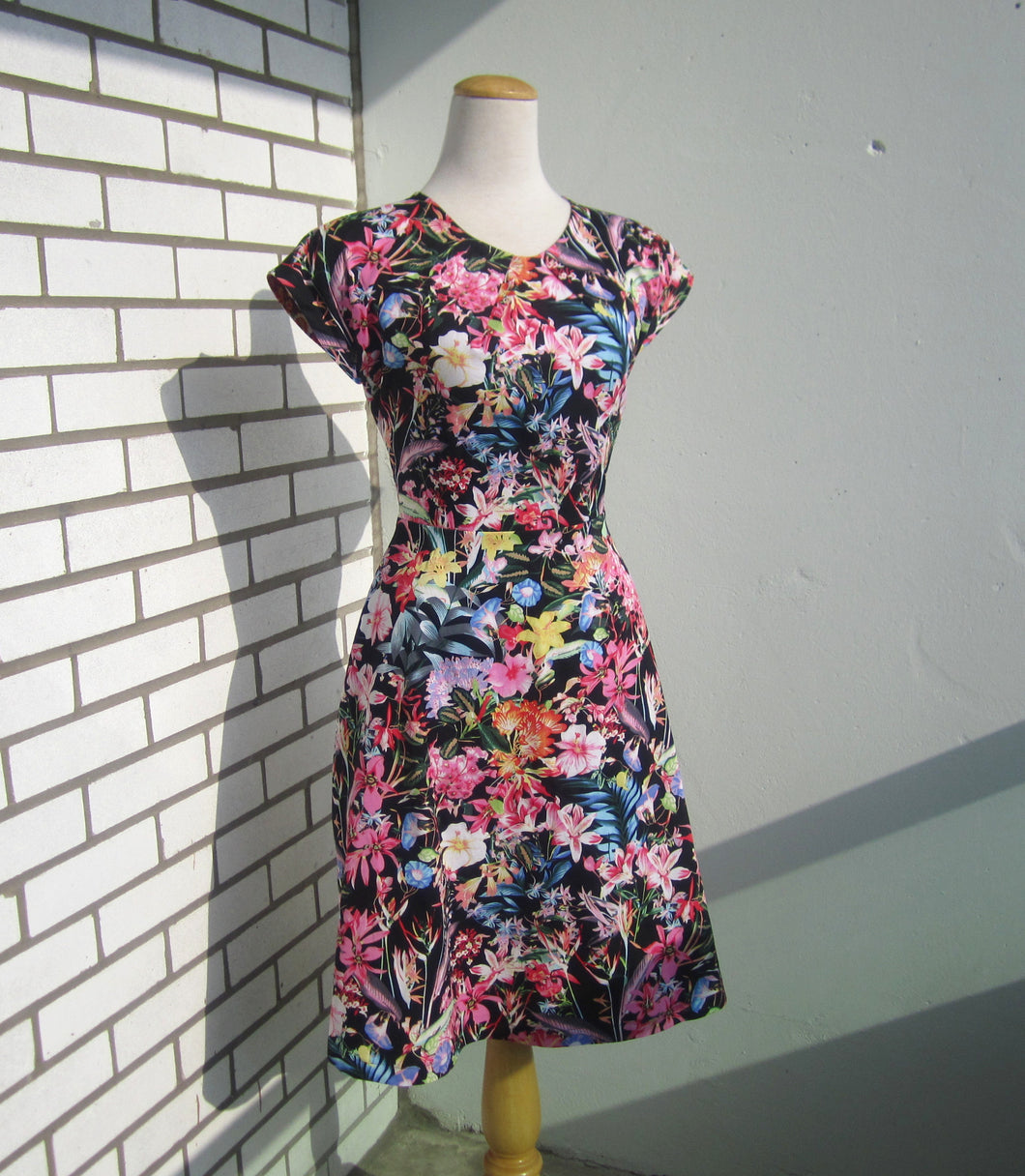 PTA Provocateur Short Sleeve Fit and Flare Dress in Black and Multi Floral Cotton Sateen