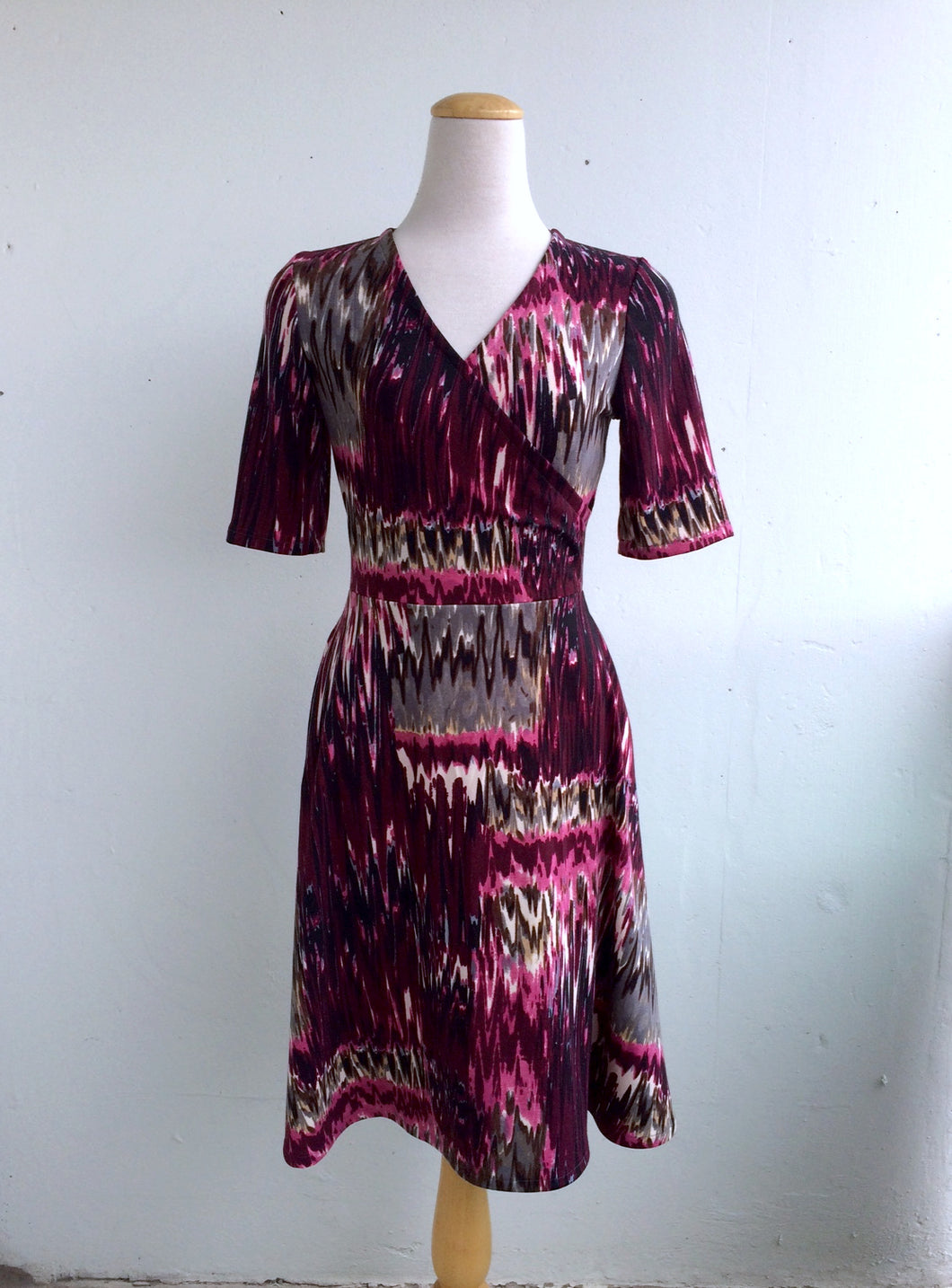 Office PJs Half Wrap Dress in Purple Abstract Print Knit Fabric