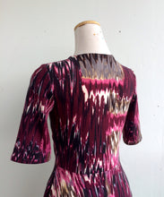 Load image into Gallery viewer, Office PJs Half Wrap Dress in Purple Abstract Print Knit Fabric