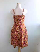 Load image into Gallery viewer, Summer Picnic Fit and Flare Sundress with Adjustable Straps in Multicolour Floral Print Cotton
