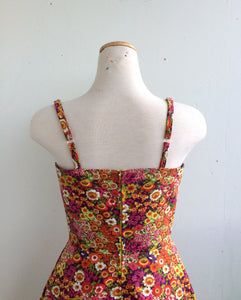 Summer Picnic Fit and Flare Sundress with Adjustable Straps in Multicolour Floral Print Cotton
