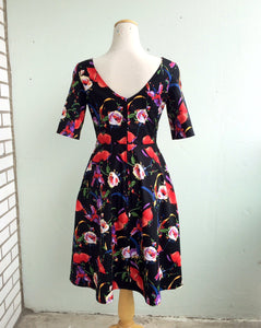 Wicked Witch Fit and Flare Dress in Black and Multi Floral Print Cotton Sateen