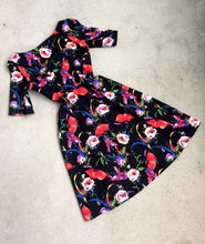 Load image into Gallery viewer, Wicked Witch Fit and Flare Dress in Black and Multi Floral Print Cotton Sateen