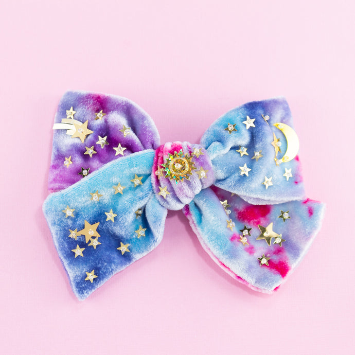 velvet confetti hair bow