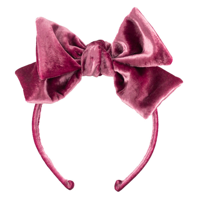 Dolly Bow Velvet Headband // Victorian Pink