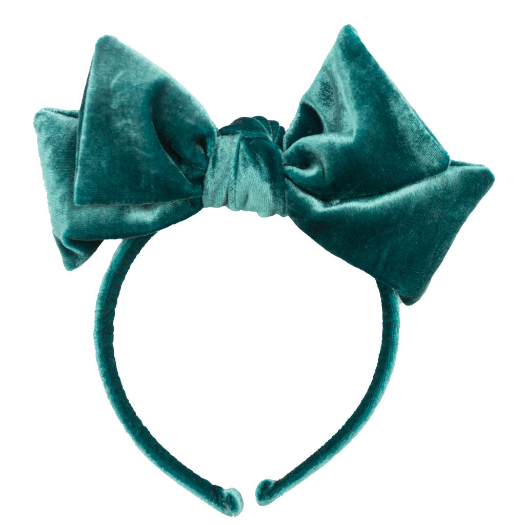 Dolly Bow Velvet Headband // Teal