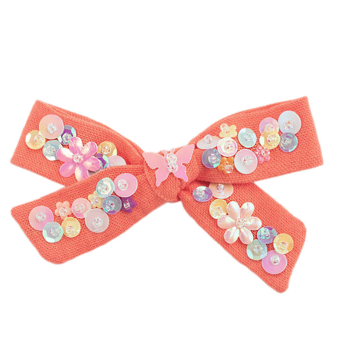 linen confetti hair bow