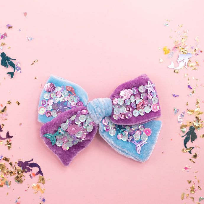 mermaid confetti hair bow